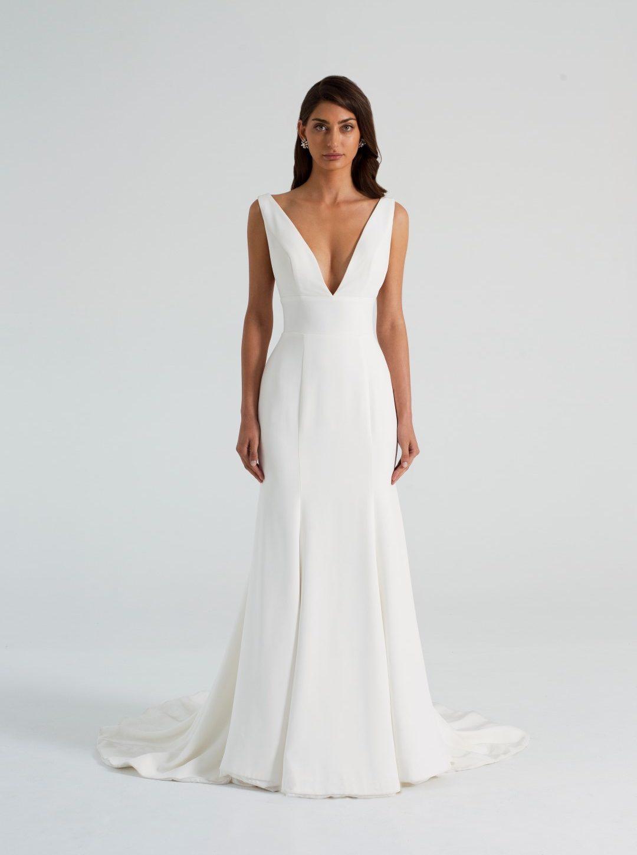 Your Dream Bridal v-neck Crepe Wedding Dress Amaline Vitale